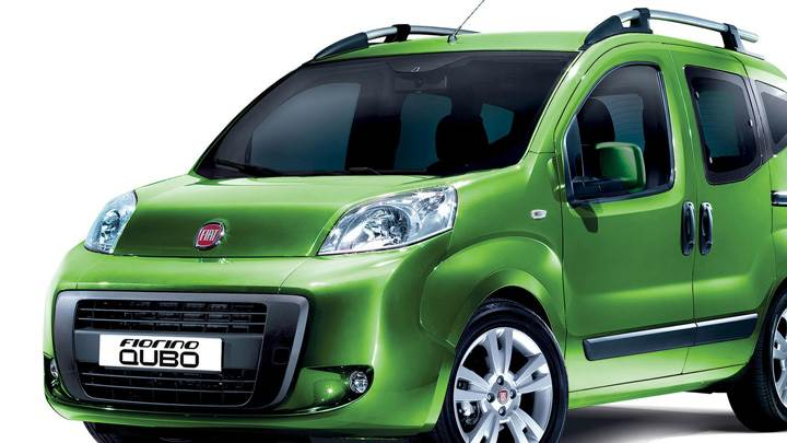 Fiat Fiorino Qubo In Green Front Side Pose N White Background